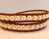 Cream Pearl Beaded Leather Wrap Bracelet-Chan Luu Style 2 Wrap