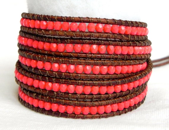 Summer Coral Beaded Leather Wrap Bracelet- Chan Luu Style 5 Wrap