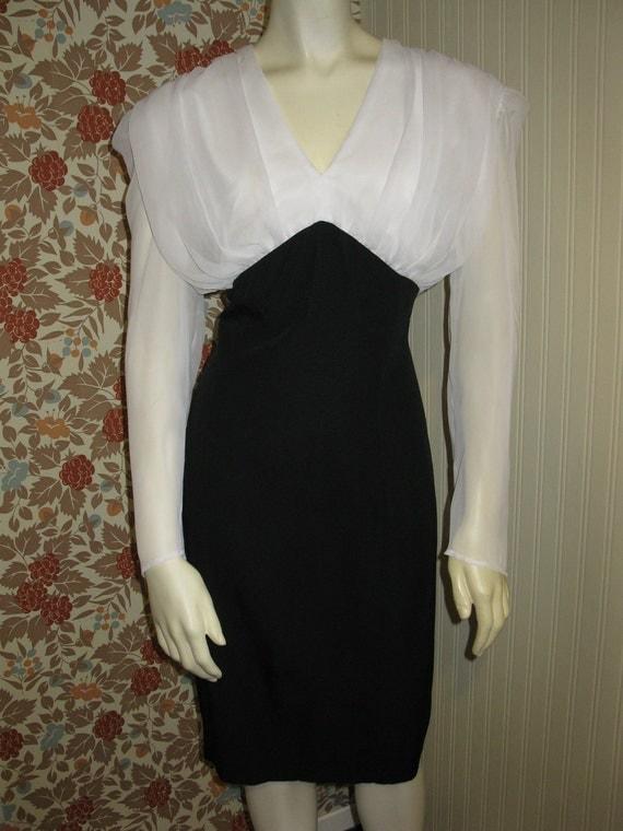Vintage 1940s look Wiggle Little Black Curvy Dress Chiffon & Gabordine