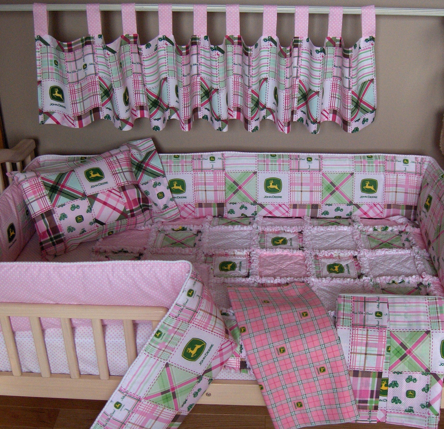 Baby bed extension uk - Stunning Baby Pink John Deere Fabric Crib Bedding Set Rag Quilt Valance With Baby Crib Bedding Sets Uk