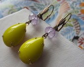 Vintage canary yellow glass teardrop and amethyst earrings, spring color