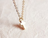 dainty cross bracelet - golden delicate minimalist  jewelry, gift for her under 15 usd