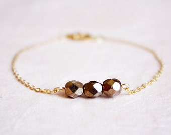 bronze beaded bracelet - delicate minimal jewelry, gift for her