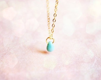 tiny turquoise drop - delicate everyday bracelet, gift for her