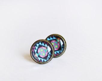 aztec stud earrings - tribal geometric jewelry  - blue / gift for her