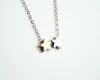 tiny stars necklace - mixed metals dainty minimal jewelry / gift for her