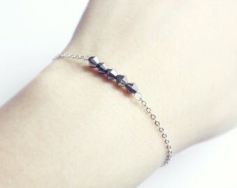 dainty beaded bar on silver chain - delicate minimal jewelry, gift for her