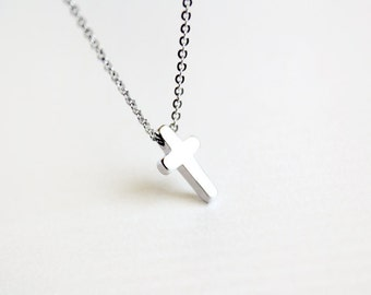 dainty cross necklace - delicate everyday jewelry, gift for her under 15 usd