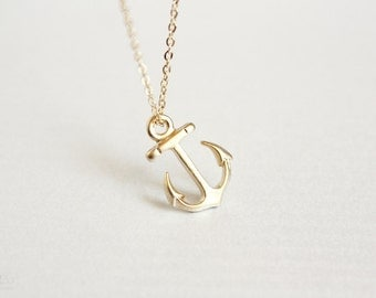 dainty gold anchor necklace - nautical summer jewelry / gift for her under 20 usd / spring summer jewelry