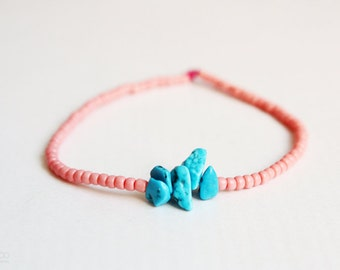 coral reef - turquoise and coral beaded friendship bracelet - bohemian jewelry  / spring summer jewelry