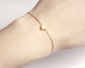 tiny gold heart bracelet - dainty everyday jewelry  / gift for her under 15 usd
