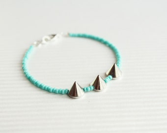 spike turquoise mint bracelet - delicate edgy layering bracelet  / gift for her