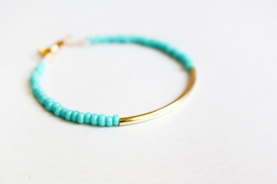 mint gold bar bracelet - minimalist jewelry - friendship bracelet (B014) / gift for her  / spring summer jewelry