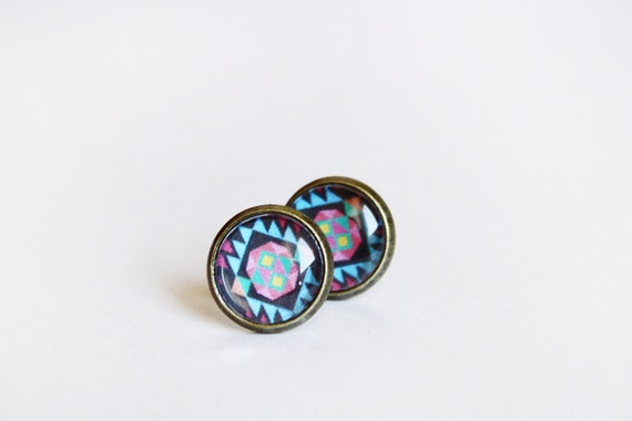aztec stud earrings - tribal geometric jewelry  - blue / gift for her