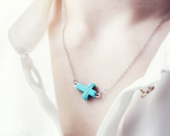 sideways cross necklace - turquoise and SILVER chain / gift for her