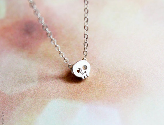tiny skull necklace - dainty minimalist jewelry - delicate silver chain / gift for her under 20usd