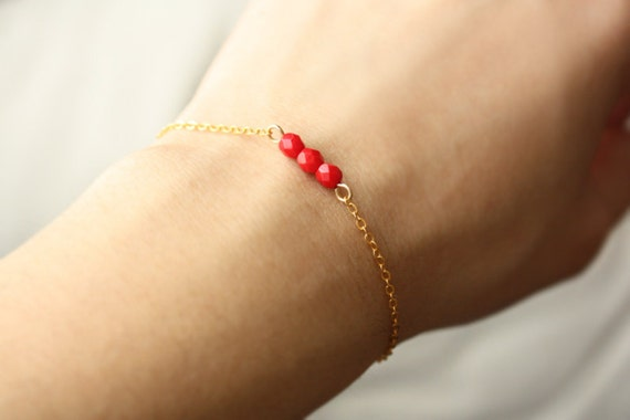 red beaded bar bracelet - delicate minimalist jewelry - gift for her / stocking stuffer