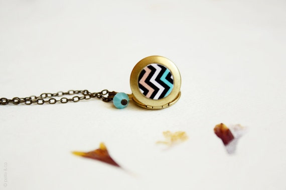 chevron necklace - mint and coral dainty locket / gift for her