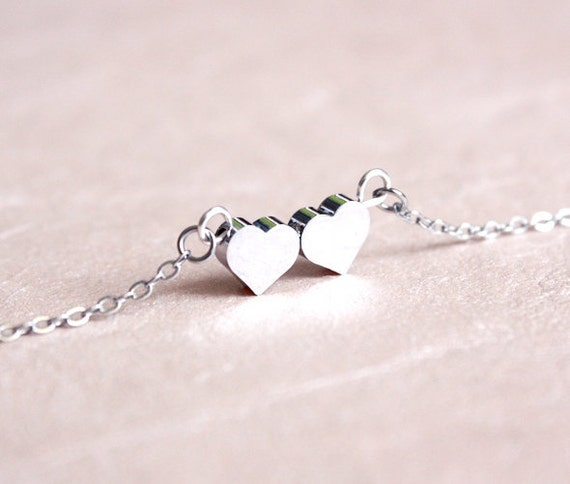 tiny hearts necklace - dainty everyday jewelry, gift for her under 20usd