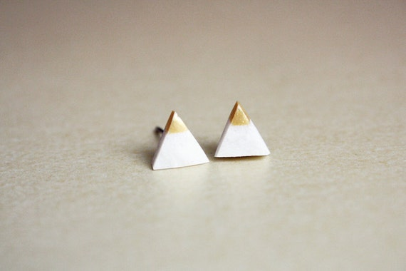 gold dipped tiny triangle studs - geometric jewelry - white / gift for her