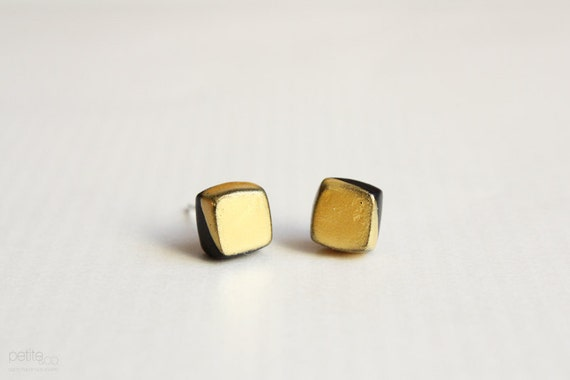 gold dipped cubes - geometric earring studs