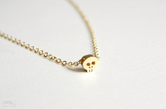 tiny gold skull necklace - dainty minimalist jewelry / gift for her under 20