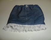 American Girl Doll Clothes - Denim mini-skirt with eyelet trim for 18 inch doll
