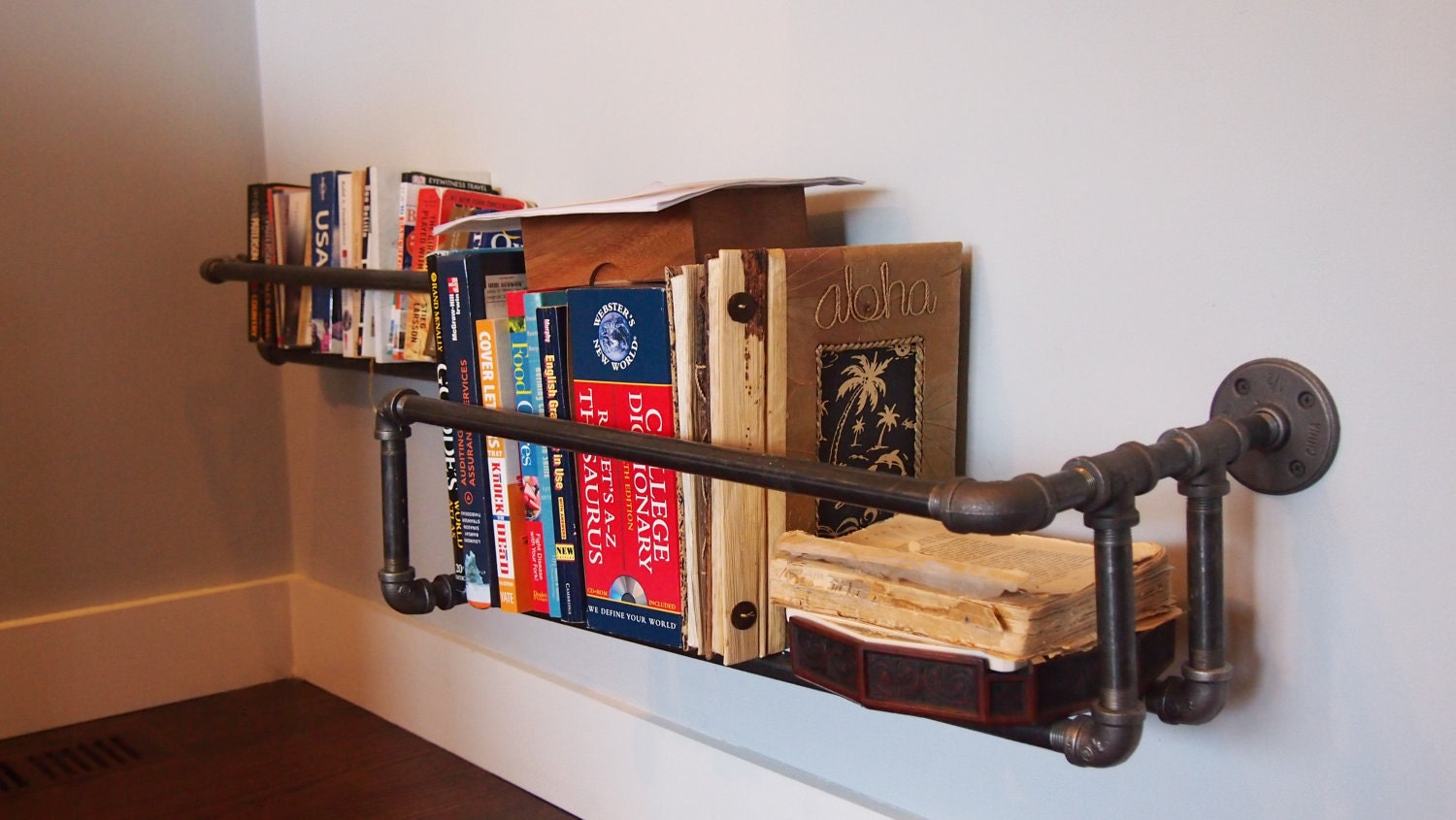 industrial pipe shelf by witusik2000 on etsy. Black Bedroom Furniture Sets. Home Design Ideas
