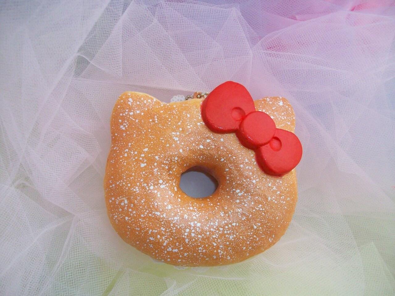 Hello Kitty Donut Squishy Real : Hello Kitty Powdered Sugar Doughnut Squishy