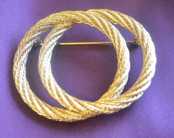 Vintage Goldtone braided scarf pin