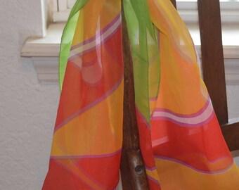 1970's Retro Vibrant Colorful Rectangular Scarf