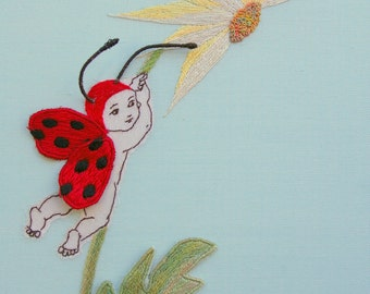 Stumpwork Ladybug Baby Hand Embroidery PDF Pattern & Instructions--nursery decor--hand embroidered needlework