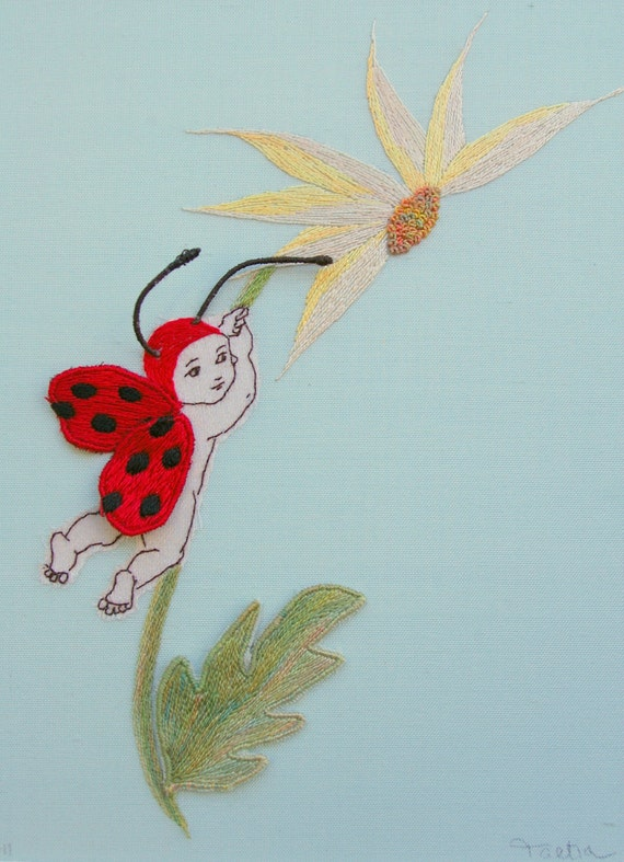 Stumpwork Ladybug Baby Hand Embroidery Pdf Pattern Amp By Taetia