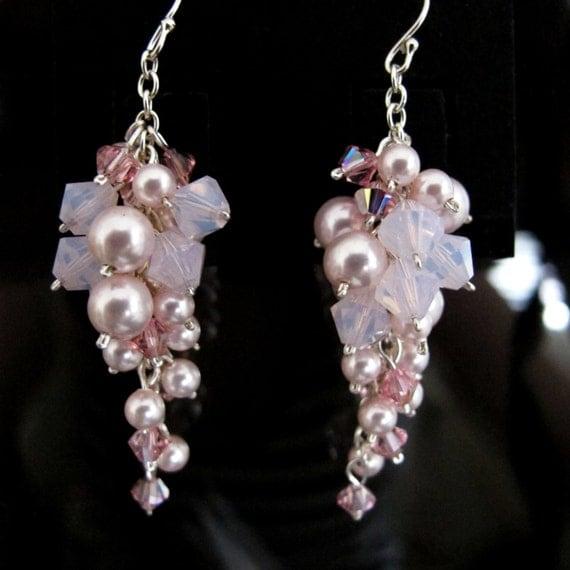 elegantly stunning sterling silver swarovski pearl cluster