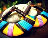 Bright Colorful Hand painted triangle Wood earrings,bohemian,hippie,tribal style