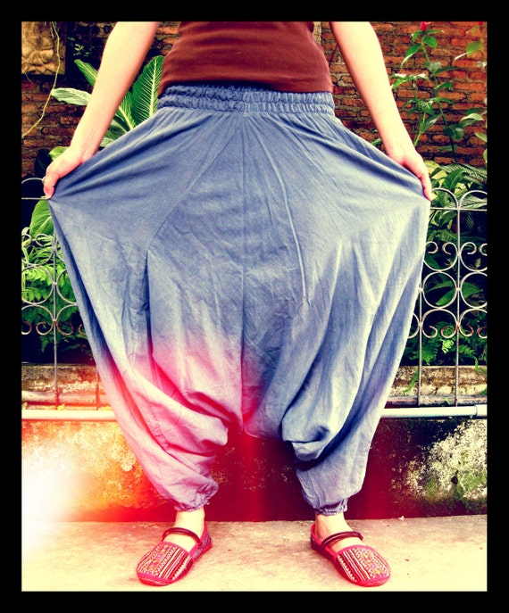 Harem Blue Grey soft cotton with Inside lining pants/Jumpsuit ,Gypsy Baggy genie,hippie,ninja,Aladdin yoga style