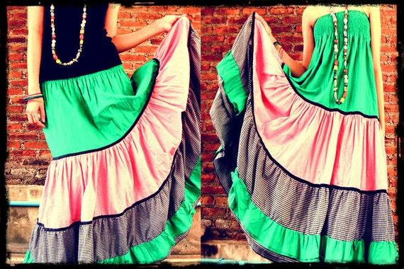 Spring blossom bohemian long ruffle cotton patchwork skirt /sun dress with elastic waist,colorful,bohemian,gypsy,maxi skirt