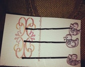 Pink duck hairpins