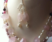 Genuine freshwater pearl and genuine faceted rose quartz semi precious gemstone necklace and earrings wedding jewellery set.