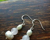 Freshwater pearls and rose quartz earrings with sterling silver hooks. Wedding jewellery. Bridal jewellery. Bridesmaids earrings