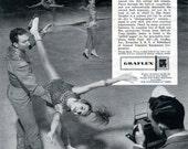 Vintage Ad 1959 Graflex Super Graphic 4x5 Camera with 1958 Ice Capades Skaters