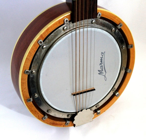 Reserved for Brooke Nelson Six String Banjo Guitar Bantar with Strap Case Marna 1970s East German European