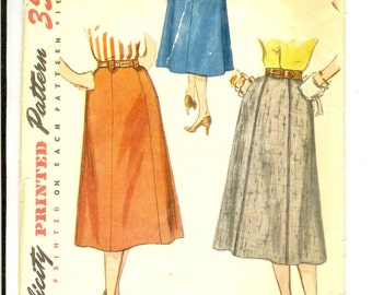 Skirt 50s Vintage Sewing Pattern Simplicity 4375 Size Waist 30 Hip 39 1950s