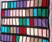 """The """"Riot of Colors"""" Patchwork Quilt - Hand Knitted Blanket / Afghan"""