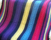 Braided Rainbow Quilt - Hand Knitted Blanket / Afghan