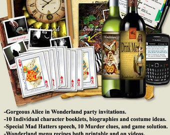 Alice in Wonderland Murder mystery party game DOWNLOAD.  book lets, clues , .art ......Ages 14+ to Adults.