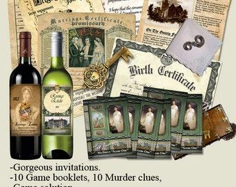 JANE AUSTEN Murder Mystery Party game. .Vintage style look,  book lets, clues , Printable, Download now..art, regency,