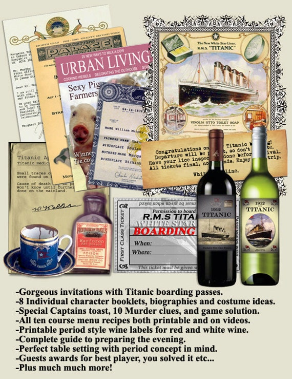 TITANIC DINNER PARTY  Murder Mystery Dinner Party Game. .Vintage style look,  book lets, clues , Printable Dowwnload now..art