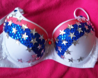 Bra- Red, White, Blue w Stars