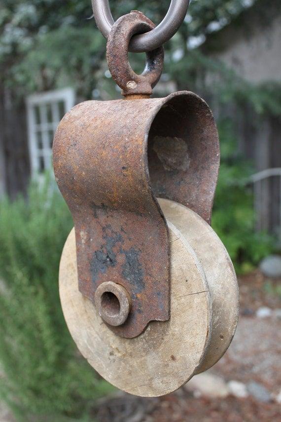 Vintage Rustic Wooden Wheel Hay Pulley